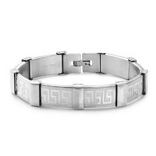 Greek Design Bracelet - JewelryVolt Stainless Steel Bracelet with Abstract Infinity Greek Symbol Design - Length:8.0