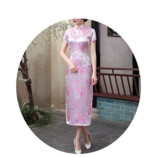 ヒゲ分類する広大な黒の赤い中国の伝統的なドレス女性の夏の半袖ロングドレスフラワーS M L XL XXL,ピンク,S