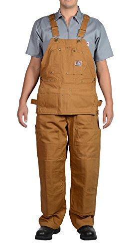 Ben Davis Men's 862 12 oz. Heavyweight Duck Canvas Heavy Duty Twill Carpenter Bib Overalls, Brown Duck (34W x 30L, Brown Duck)
