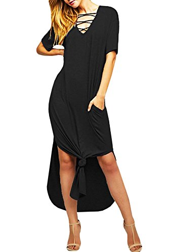 Womens Criss Cross Beach Dresses Casual Summer V Neck Short Sleeve Split Maxi Dress