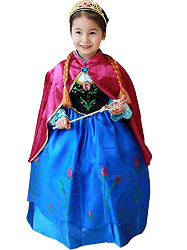 [CXFashion Disguise ANNA ELSA FEVER Girl's Birthday Princess Dress Party Costume(2-3T)] (Elsa 2t Costume)