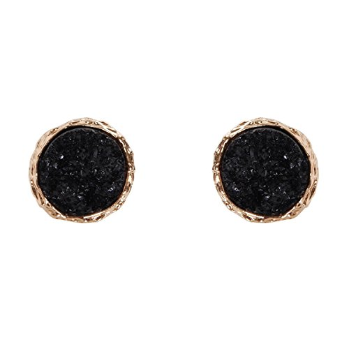 Humble Chic Round Simulated Druzy Studs - Sparkly Bezel Set Circle Post Earrings, Black, Simulated Onyx, - Bezel Earrings Round