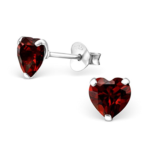 Earrings Garnet & Topaz Pink (925 Sterling Silver Hypoallergenic 6mm Heart Birthstone CZ Stud Earrings 33211 (Choose Your Color) (Garnet))