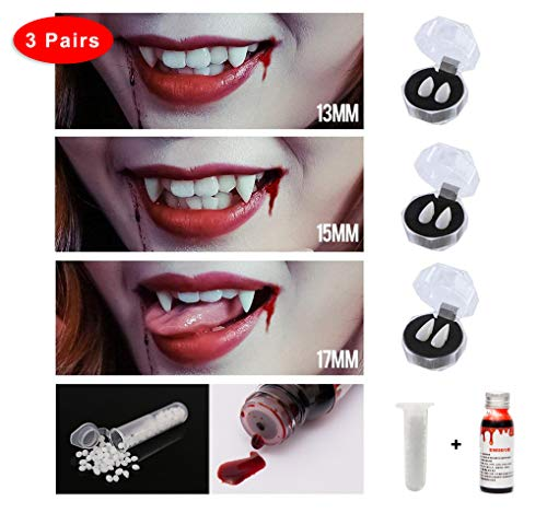 Eternity J. 3 Pairs Vampire Fangs Teeths Dentures Halloween Party Cosplay Prop Decoration Dress up Costume Accessory Party Favors Set Adhesive Pellets Vampire Blood 1 oz