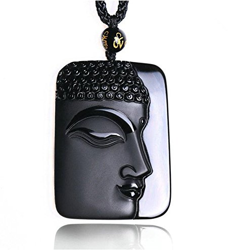 - natural Obsidian stone carved black buddha charm pendant necklace Y06