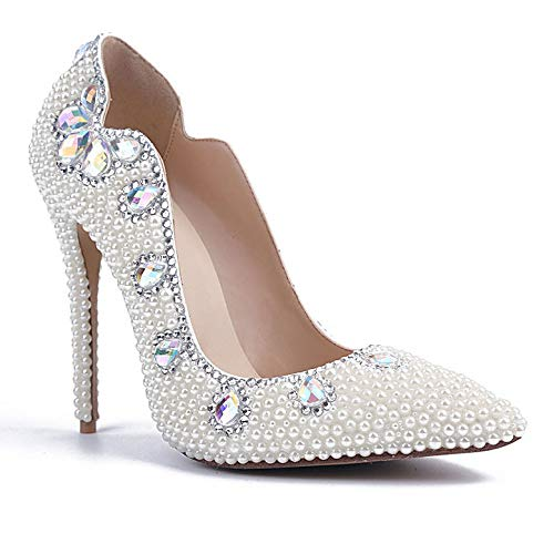 Evening Wedding White Women Prom For Pumps Party Elegant Stiletto Heeled Shoes Pointed Diamond Bride Toe Pearl Colored Shoes High Ladies Hwfv4Y