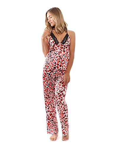 JONES NEW YORK Women's Satin Pajama Set with pants, Sleeveless Sleepwear (Large)
