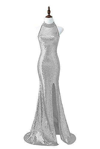 Besswedding Robe De Soirée Licol De Bal Des Femmes Pour Les Juniors Robe Gris Haute Fente