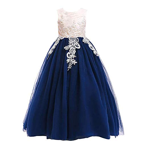 (Weileenice 3-16Y Big Girls Lace Bridesmaid Dress Dance Gown A Line Dresses Long for Party Wedding (11-12Y, Champagne/Navy Blue))