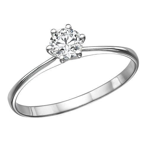 14K WhiteGold RoundBrilliantCut Diamond Engagement Ring 1/5 ct LM Color I1I2 Clarity  Size 6