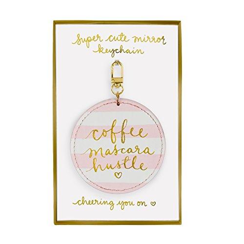 Eccolo Dayna Lee Small Round Mirror Keychain, Pink Stripe, Coffee Mascara Hustle