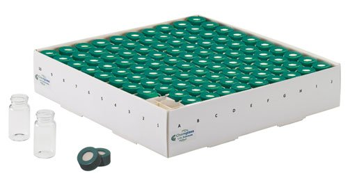 Chemglass CG-4909-04 Clear Complete Storage/Reaction Vial with TFE Septa Green Open Top Cap, 4ml Capacity, 15mm Dia x 45mm L, 13-425 Cap Size (Case of 100)