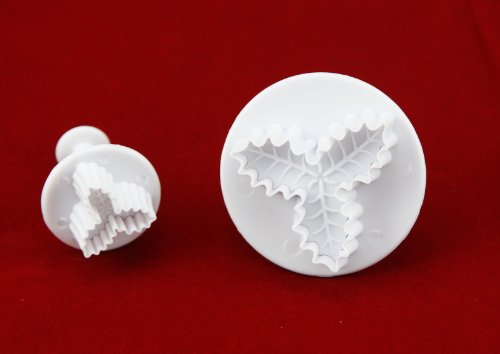 OOOUSE Set of 2pcs Three Leaf Holly plunger Cutter cake decorating fondant embossing tool (Holly Cake)