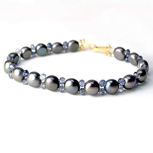 Dark Grey Freshwater Cultured Pearl Bracelet with Iolite Gemstone Accents in 14K Gold Filled