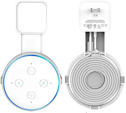 Echo Dot Wall Mount Stand/Holder Outlet Holder Stand for Dot (3rd Gen) Smart/Home Speakers Built-in Cable Management Without Hide Messy Wires or Screws (White, 1-Pack)