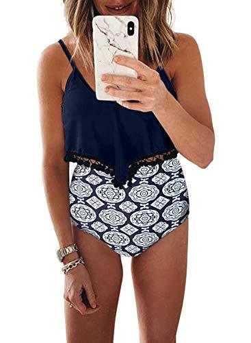- EVALESS Womens Sexy Two Pieces Ruffle Pom Pom Trim Straps Tankini Bandeau High Waist Swim Bottom Bathing Swimwear Medium Blue