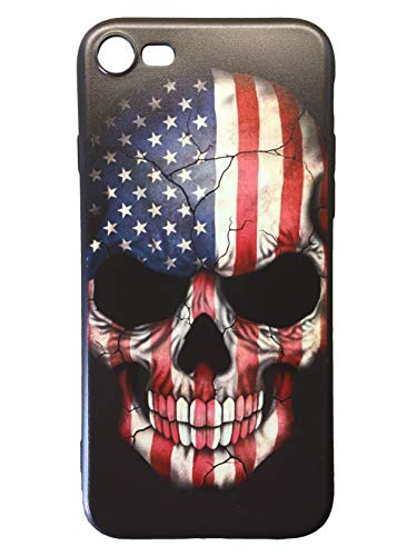 - TPP - iPhone 8 Case American Flag Skull with Scratch and Shock Resistant Soft Flexible Silicone for Maximum Protection