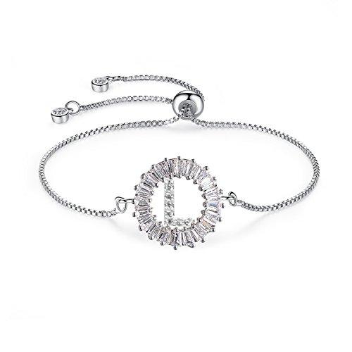 qunlianshangmao Cubic Zirconia Bracelets Bangle Jewelry l Letter Alphabet Adjustable Dainty Thin Bracelets for Women Girls.