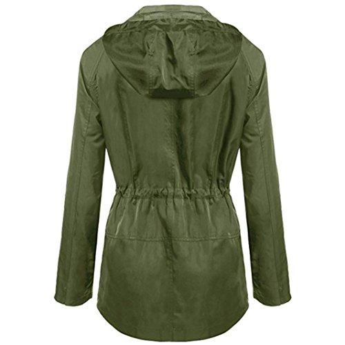 De de Parka Lenfesh Abrigo largo impermeable de dei Ligero Otoño las Invierno bolsillos Verde Mujer gaqwBYdq