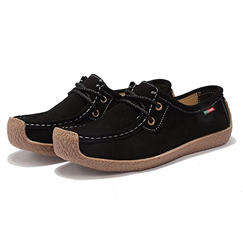 CYBLING Casual Leather Running Sports Shoes For Women Lace up Flat Fashion Sneaker Black Ywnzd