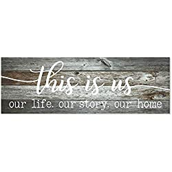 BobSign MRC Wood Products This is Us Our Life Our Story Our Home Rustic Wood Wall Sign 6x18 (Gray) bb 646385