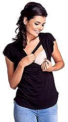 Zeta Ville - Womens Nursing T-shirt Layer Design Round Neck Short Sleeve - 943c (Blue Jeans, US 4/6, S)