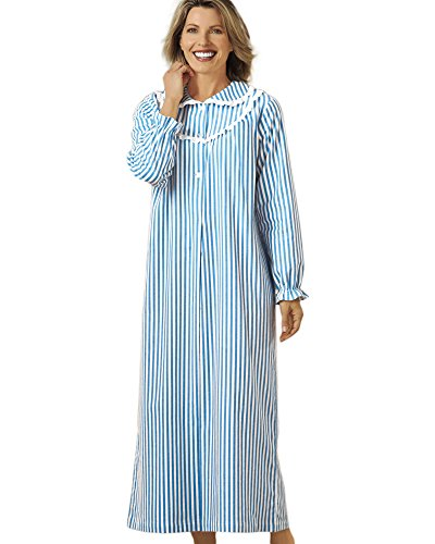 National Striped Flannel Nightgown, Blue, Large - Misses Long ()