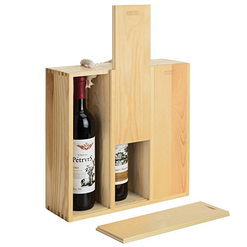 MyGift 3-Bottle Natural Wood Wine Carrying Case with Twisted Rope Handle by MyGift