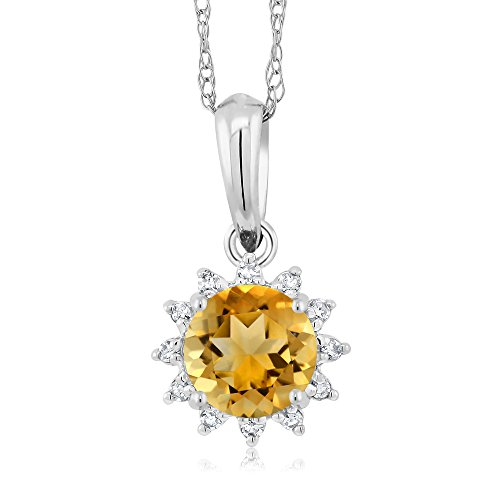 18K White Gold 0.45 Ct Round Yellow Citrine Diamond Pendant With Chain by Gem Stone King