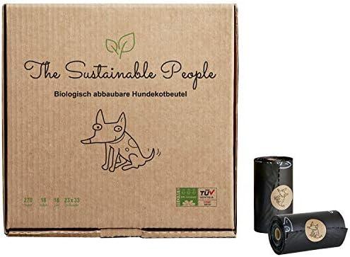TSP Bio-Hundekotbeutel Premium - OK compost HOME zertifiziert - 100% heim-kompostierbar und biologisch abbaubar (kein OXO!) - Gross, Extra Dick (18µm), Sicher & Feuchtigkeitsbeständig