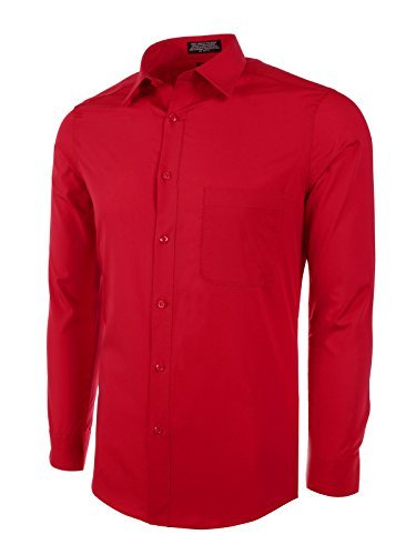(Marquis Slim Fit Dress Shirt - Red,Medium 15-15.5 Neck 34/35)