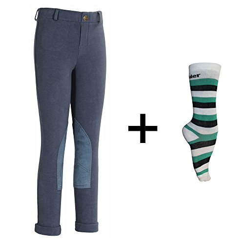 (TuffRider Children's Starter Lowrise Pull-On Jods with Free Assorted Striped Socks | Children UltraGripp Knee Patch Horse Riding Pants with Free Socks - Denim, Size 10)