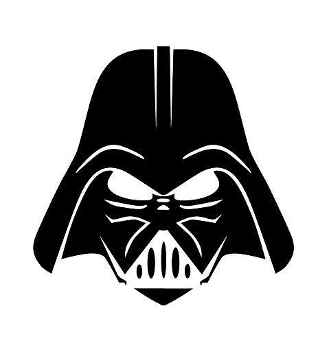 Darth Vader Sticker - 6136b Darth Vader Face black vinyl decal for bumpers, windows, laptops or any smooth surface