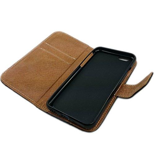 handy-point Flexi Buchhülle Echtleder bookstyle Klapptasche Ledertasche Lederhülle in Buchform mit flexibler Silikonschale Aufstellfunktion und EC Kartenfach Flip Case aus echtem Leder für iPhone 6, 6