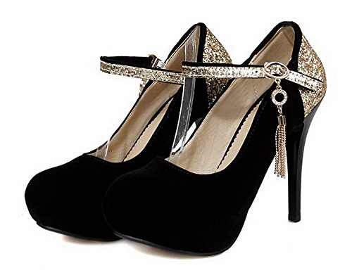 VogueZone009 Women's High-Heels Soft Material Buckle Round Closed Toe Pumps-Shoes Black zZ4Prqw