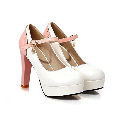 AllhqFashion Damen Schnalle PU Leder Rund Zehe Hoher Absatz Gemischte Farbe Pumps Schuhe Weiß