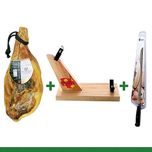 (Carmen & Lola Jamon Serrano Ham Bone-in Pack 15-17 Lbs (Ham + Knife + Holder))