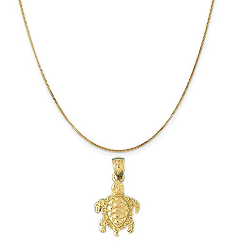 14k Yellow Gold 3-D Turtle Pendant on a 14K Yellow Gold Curb Chain Necklace, 16'' by Eaton Creek Collection