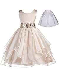 Wedding Ruffles Organza Flower Girl Dress Sequin Toddler...