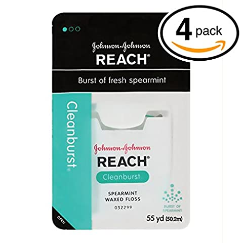 (PACK OF 4) Johnson & Johnson REACH Waxed Floss. BURST OF FRESH SPEARAMINT! Removes Up to 2x More Plaque than Glide Floss! (Pack of 4, 55 Yards - Gentle Gum Care Woven Floss