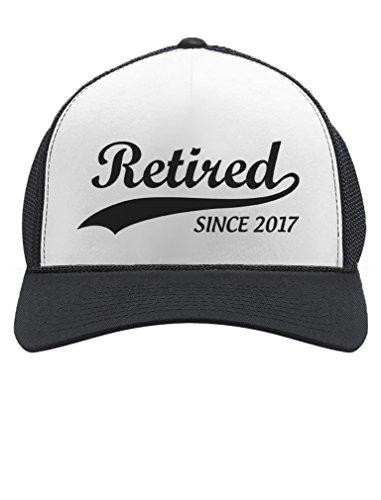 Tstars Retired Since 2017 - Cool Retirement Gift Idea Retiring Trucker Hat Mesh Cap One Size Black/White