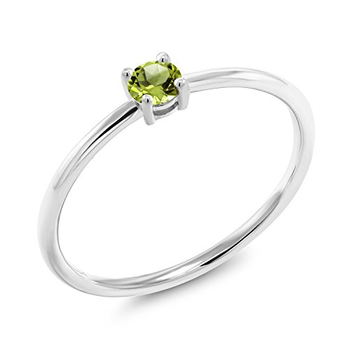 - Gem Stone King 0.18 Ct Round Green Peridot 10K White Gold Solitaire Engagement Ring (Size 7)