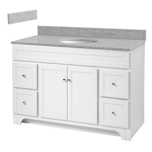 Foremost WRWAT4821D-8M  Worthington 48-Inch White Bathroom Vanity with Meteorite Gray Granite Top and White Vitreous China Sink (Vanity China Top White)