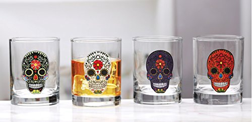 Circleware Sugar Skull Double Old Fashioned Drinking Glasses with Black/White/Purple/Orange Skulls, Set of 4, 11.25 oz, Clear