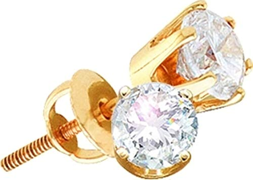 Aienid 14Kt Yellow Gold 1.50Ct Diamond Round Earrings for Women ()