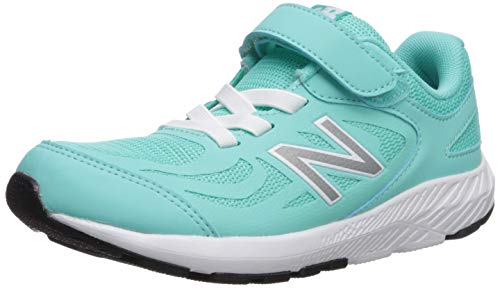 New Balance Girls' 519v1 Hook and Loop Running Shoe, Light Tidepool/White, 1 M US Little Kid (Kids Blue Tide Apparel)