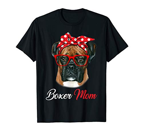 Boxer Dog With Red Headband & Glasses Boxer Mom Tshirt Gifts ()