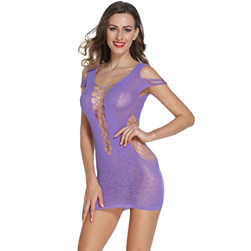 (Women Striped Lingerie Fishnet Mini Dress Sexy Sleepwear Crotchet Mesh Hollow-Out Mini Chemise Dress Tights Suspenders (Purple, One Size))