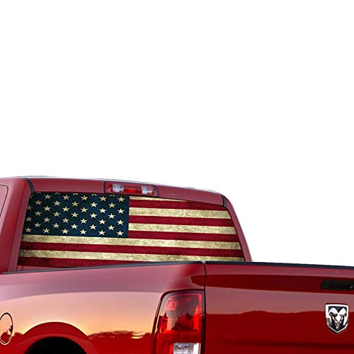 Gold Fish Decals Rear Window Perforated See Thru Graphic us Flag 1 Decal Sticker Compatible with Dodge Ram (1 Rear Window Graphic)