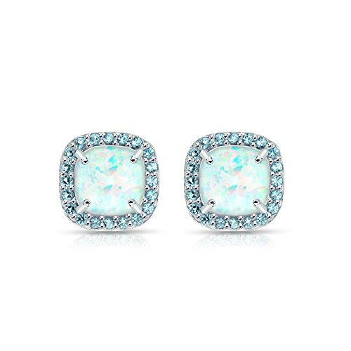 Sterling Silver Simulated White Opal and Blue Topaz Cushion-cut Halo Stud Earrings ()